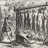 """Gravura de Theodor de Bry que ilustra a edição de 1552  de """"Brevíssima relação da destruição das Índias Ocidentais"""""""
